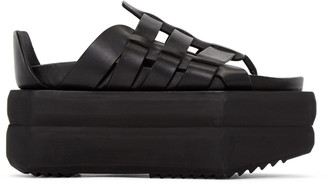 Rick Owens Black Leather Gladiator Sandals $1,615 thestylecure.com