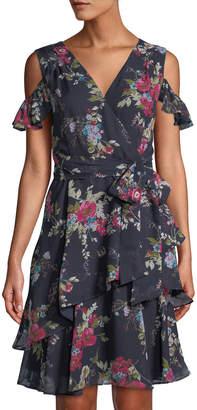 Tahari ASL Cold-Shoulder Floral Wrap Dress