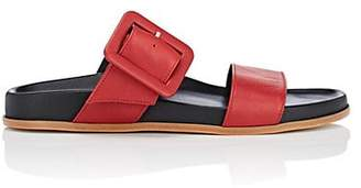 Barneys New York Women's Leather Double-Band Slide Sandals - Red