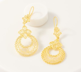 Artisan Crafted 14K Gold Filigree Chandelier Earrings