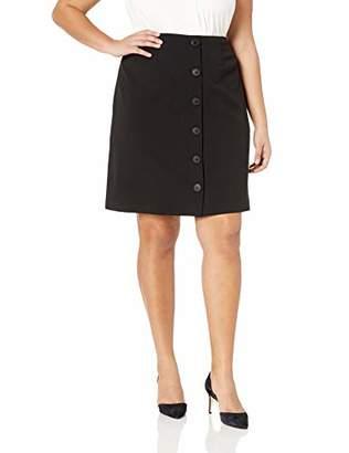 Nine West Women's Plus Size 6 Button Front Detail Stretch Crepe Skirt