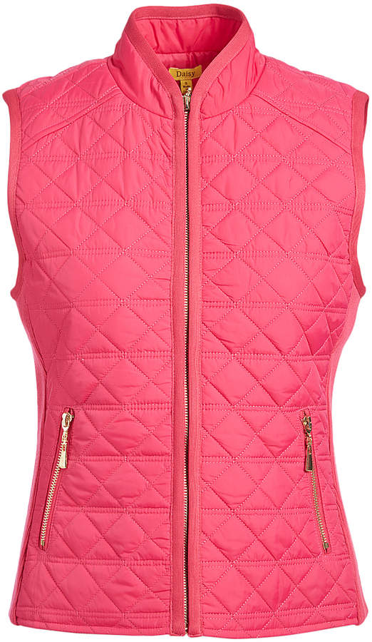 Magenta Zipper Pocket Quilted Puffer Vest - Women & Plus