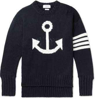 Thom Browne Striped Intarsia Cotton Sweater