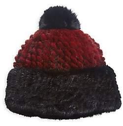 The Fur Salon Women's Mink & Fox Fur Pom Pom Beanie