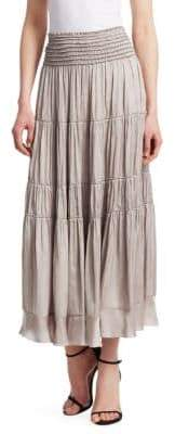 Halston Flowy Smocked Waist Skirt