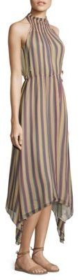 Derek Lam 10 Crosby Striped Silk Mockneck Dress $595 thestylecure.com