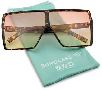 SunglassUP Big XL Large Oversized Super Flat Top Square Two Tone Color Fashion Sunglasses (Black Frame/Clear Lens, 69)