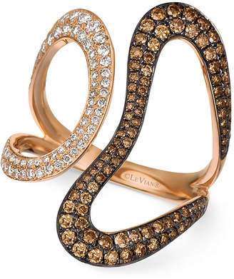 LeVian Le Vian Chocolatier Diamond Contemporary Swirl Ring (1 ct. t.w.) in 14k Rose Gold