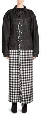 Balenciaga Fringe Plaid Blanket Denim Jacket
