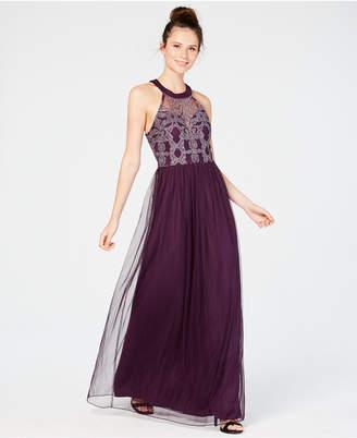 Speechless Juniors' Glitter Illusion Halter Gown