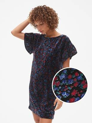 Gap Velvet Print Ruffle Sleeve Dress