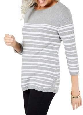 Karen Scott Petite Stripe Cotton Sweater