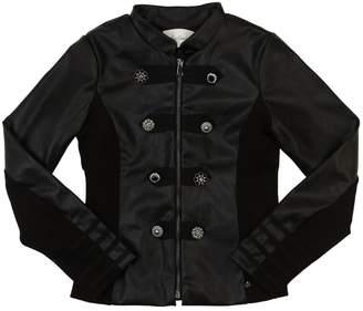 Faux Leather & Faux Fur Casual Jacket