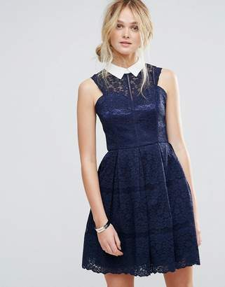 Chi Chi London Structured Lace Skater Dress With Contrast Collar