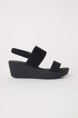 H&M Wedge-heel Sandals - Black - Women