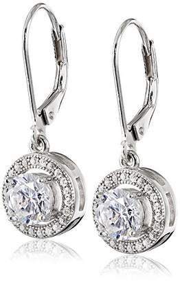 925 Sterling 10mm Pave and White AAA Cubic Zirconia Leverback Earrings (1.9 cttw)