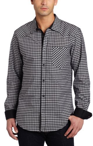 Ecko Unlimited Men's Chambray Plaid and Solid Poplin Woven Shirt