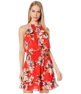 Miss Me Floral Print Halter Mini Dress