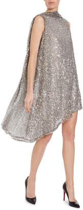 Halpern Sequined Cowl-Back Cocktail Dress