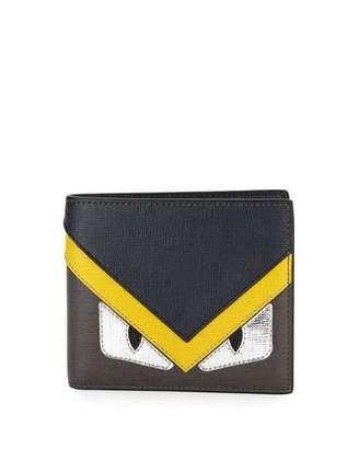 Fendi Silver Monster Eyes Leather Bi-Fold Wallet, Blue/Gray $450 thestylecure.com