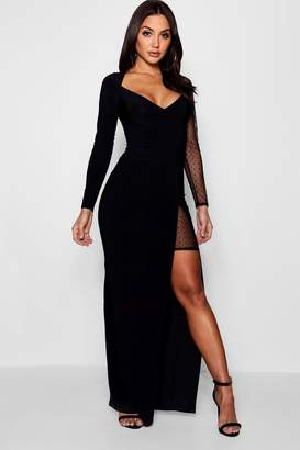 boohoo Dot Mesh Contrast Split Maxi Dress