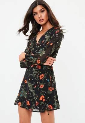 Missguided Black Floral Wrap Tea Dress