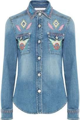 Moschino Embellished Faded Denim Shirt