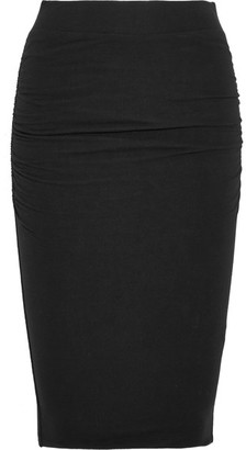 James Perse - Ruched Stretch-cotton Jersey Skirt - Black $165 thestylecure.com