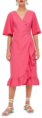 Topshop Crepe Ruffle Midi Dress