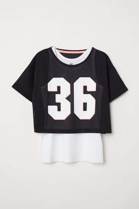 H&M Double-layered Sports Top - Black
