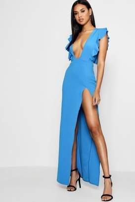 boohoo Ruffle Plunge Split Leg Maxi Dress