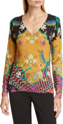 Etro Print Silk & Cashmere Sweater