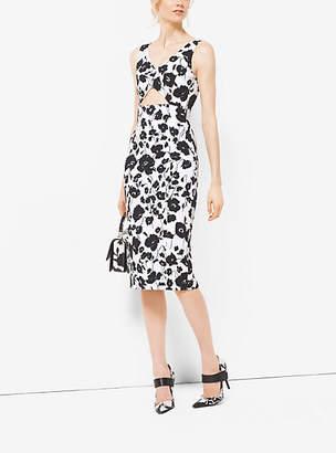 Michael Kors Floral Silk And Cotton-Matelasse Cutout Sheath Dress