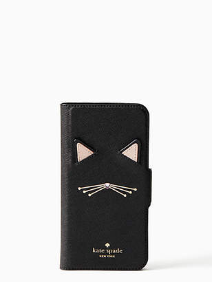 Kate Spade Cat applique iPhone 7 & 8 folio case