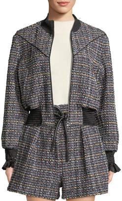 3.1 Phillip Lim Textured Tweed Zip-Front Track Jacket