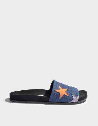 Stella McCartney Mule Shoes with Stars in Navy, Peach and Lilac Cotton