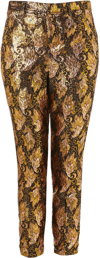Topshop Paisley Jacquard Cigarette Trousers