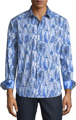 Robert Graham Ewing Classic-Fit Palm-Leaf Print Sport Shirt