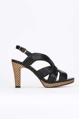 Wallis Black Covered Heel Platform Sandal