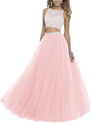 GRP Uryouthstyle Long Two Pieces Beaded Prom Gowns Bodice Evening Dress RB US