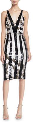 Dress the Population Margo Sequin Striped V-Neck Dress