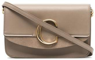 Chloé grey C ring patent leather and suede shoulder bag