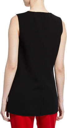 Michael Kors Plunge-Neck Sleeveless Wool Top, Black