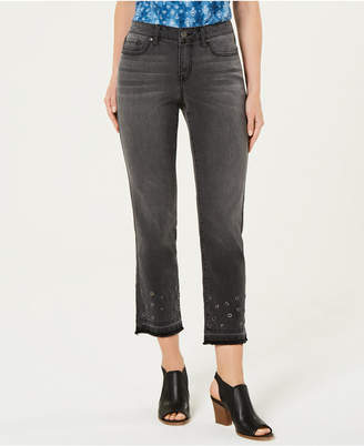 Style&Co. Style & Co Grommet-Trimmed Straight-Leg Cropped Jeans
