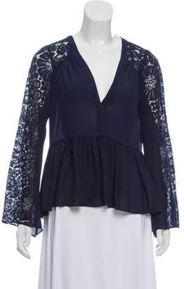 Elizabeth and James Lace-Trimmed Peplum Top
