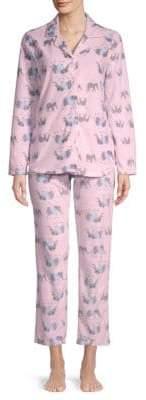 Two-Piece Elephant-Print Pajama Set