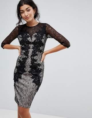 Little Mistress 3/4 Sleeve Contrast Lace Dress