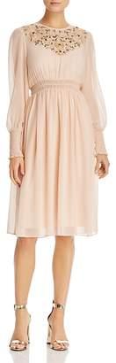 nanette Nanette Lepore Embroidered Smocked Dress