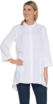 Linea By Louis Dell'olio by Louis Dell'Olio Gauze Crepe Stand Collar Tunic