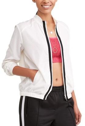 Dance 2Liv Women's Full Zip Mesh Bomber Jacket with Contrast Stripe